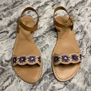 SCHUTZ Ankle Strap Flat Sandal with Purple Flowers